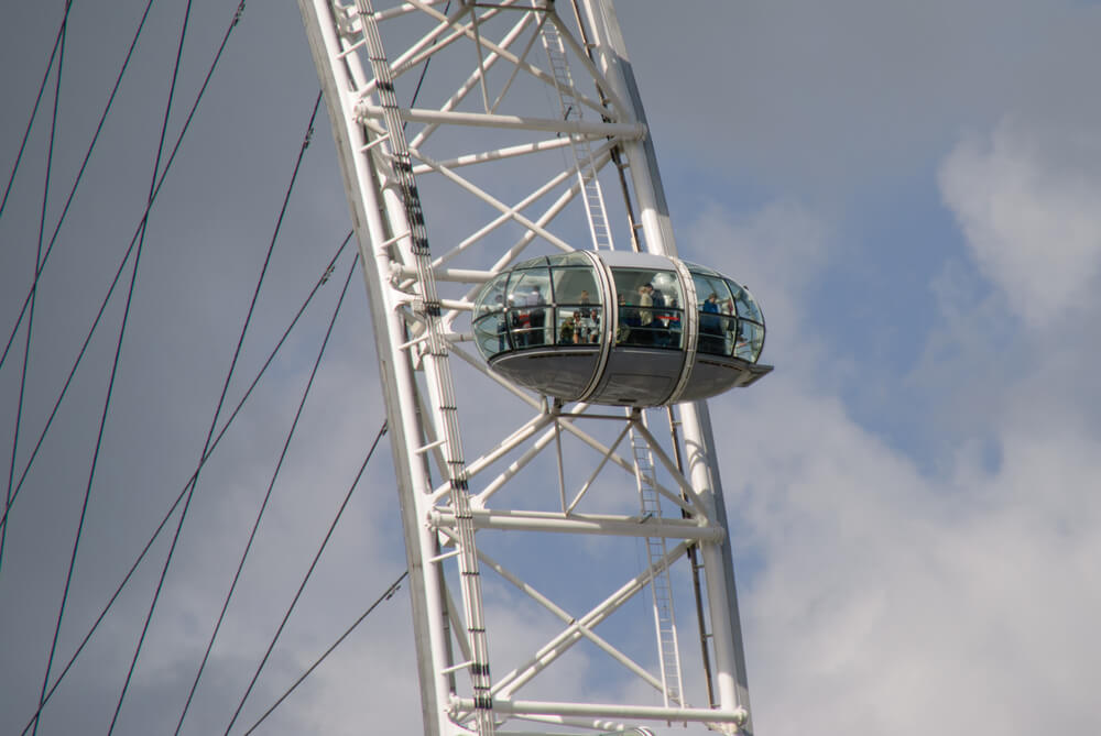A single car of the London Eye against a partly cloudy sky